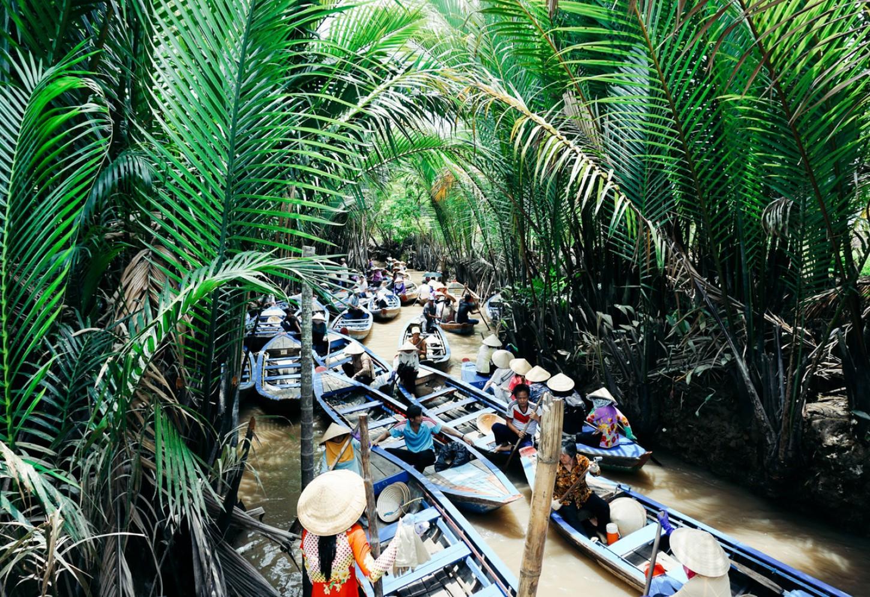 Drijvende markten in de Mekongdelta Kriski